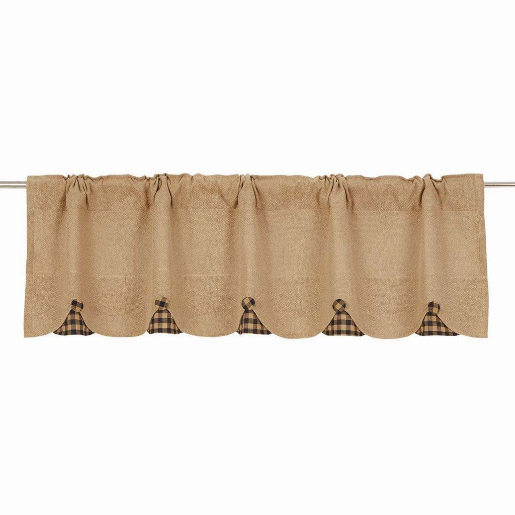 Burlap Navy Check Scalloped Valance 60 Scalloped Valance Measures 16x60 Each Curtain Has A 2 Header And 3 1 4 Rod P Valance Curtains Valance Window Valance