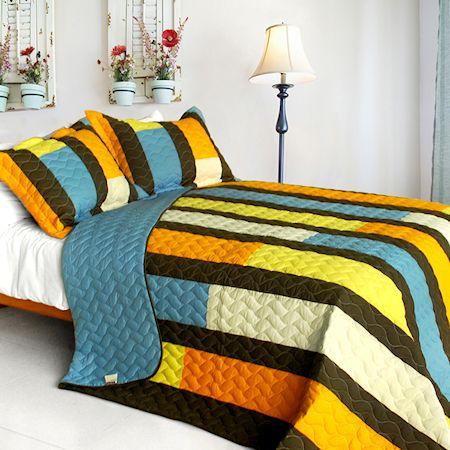 Blue Brown Yellow Striped Teen Boy Bedding Full/Queen Quilt Set ... : yellow quilted bedspread - Adamdwight.com