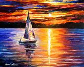 """Sunset Over The Lake — ORIGINAL Contemporary SeaScape Oil Painting On Canvas By Leonid Afremov - Size: 24"""" x 20"""" inches (60 cm x 50 cm)"""