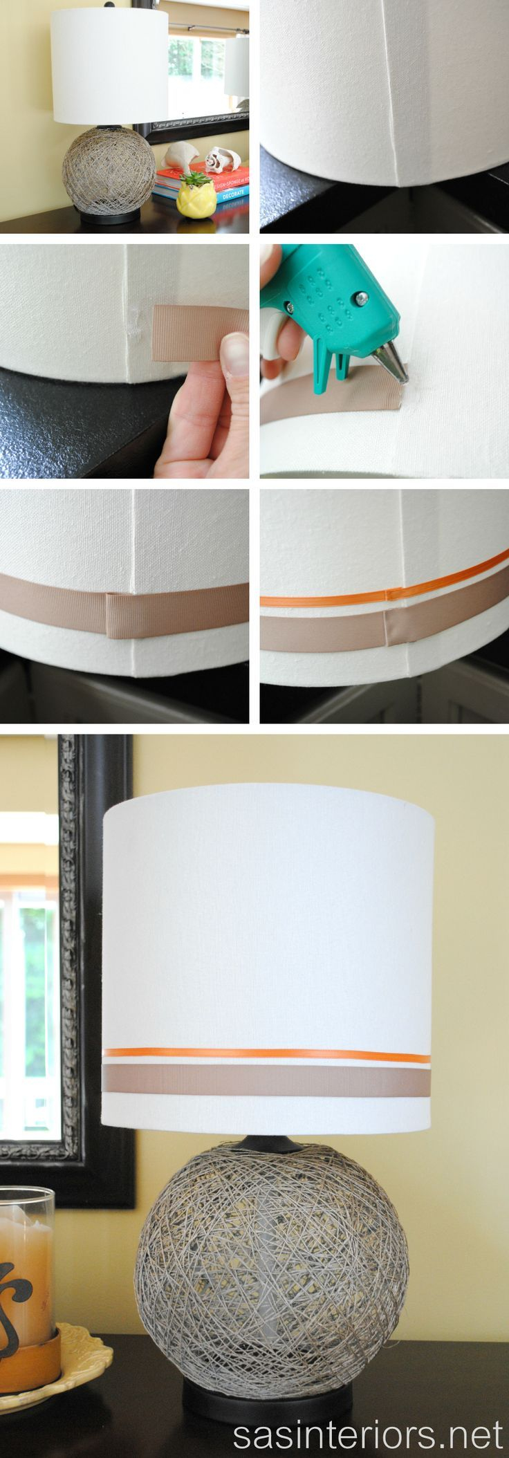 Adding ribbon to lampshade tips | Living room lamp shades ...