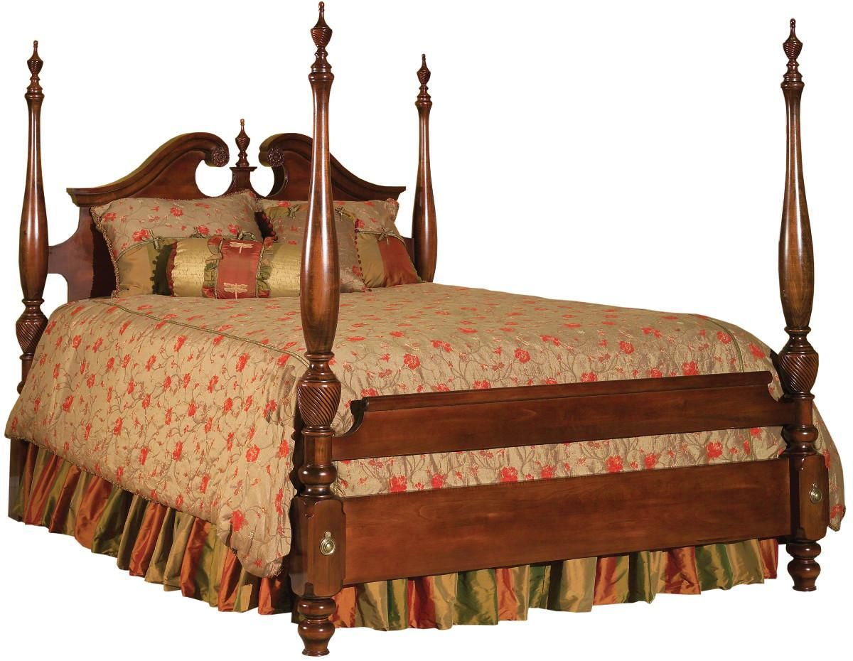 Carriage house king broken pediment poster bed by kincaid for Queen anne style bedroom furniture