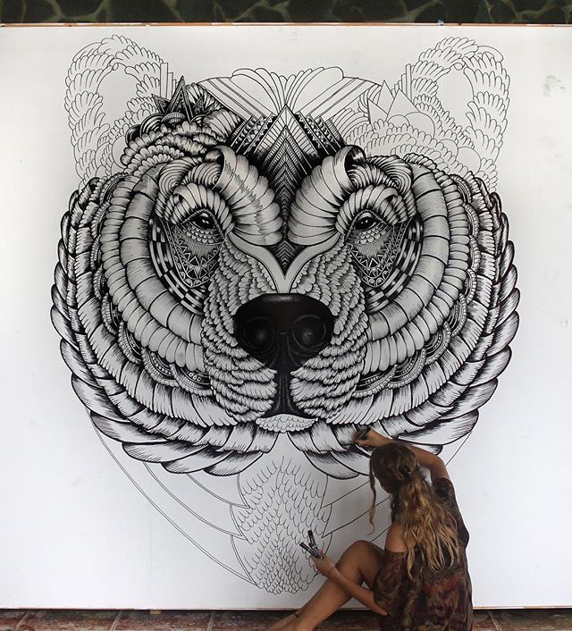 Patience Faye Patience Bear Zentangle Mural Wall Art