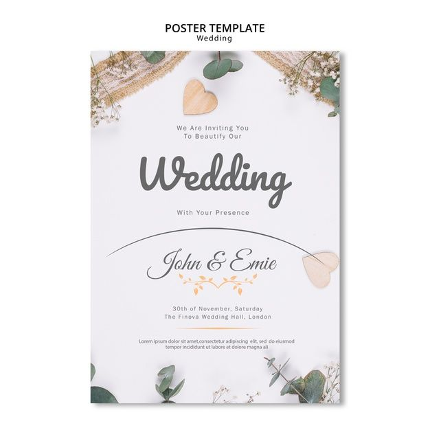 Download Beautiful Wedding Invitation With Pretty Ornaments Template for free
