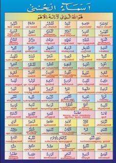 Tulisan 99 Asmaul Husna Arab Latin dan Artinya Tulisan