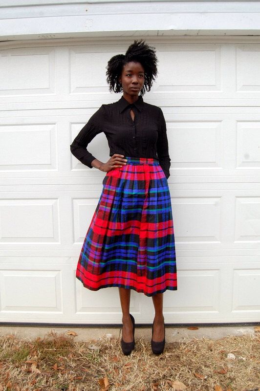 Jewel tones plaid raw silk midi skirt 1990s 90s VINTAGE by NighthawksVintage on Etsy https://www.etsy.com/listing/215239067/jewel-tones-plaid-raw-silk-midi-skirt
