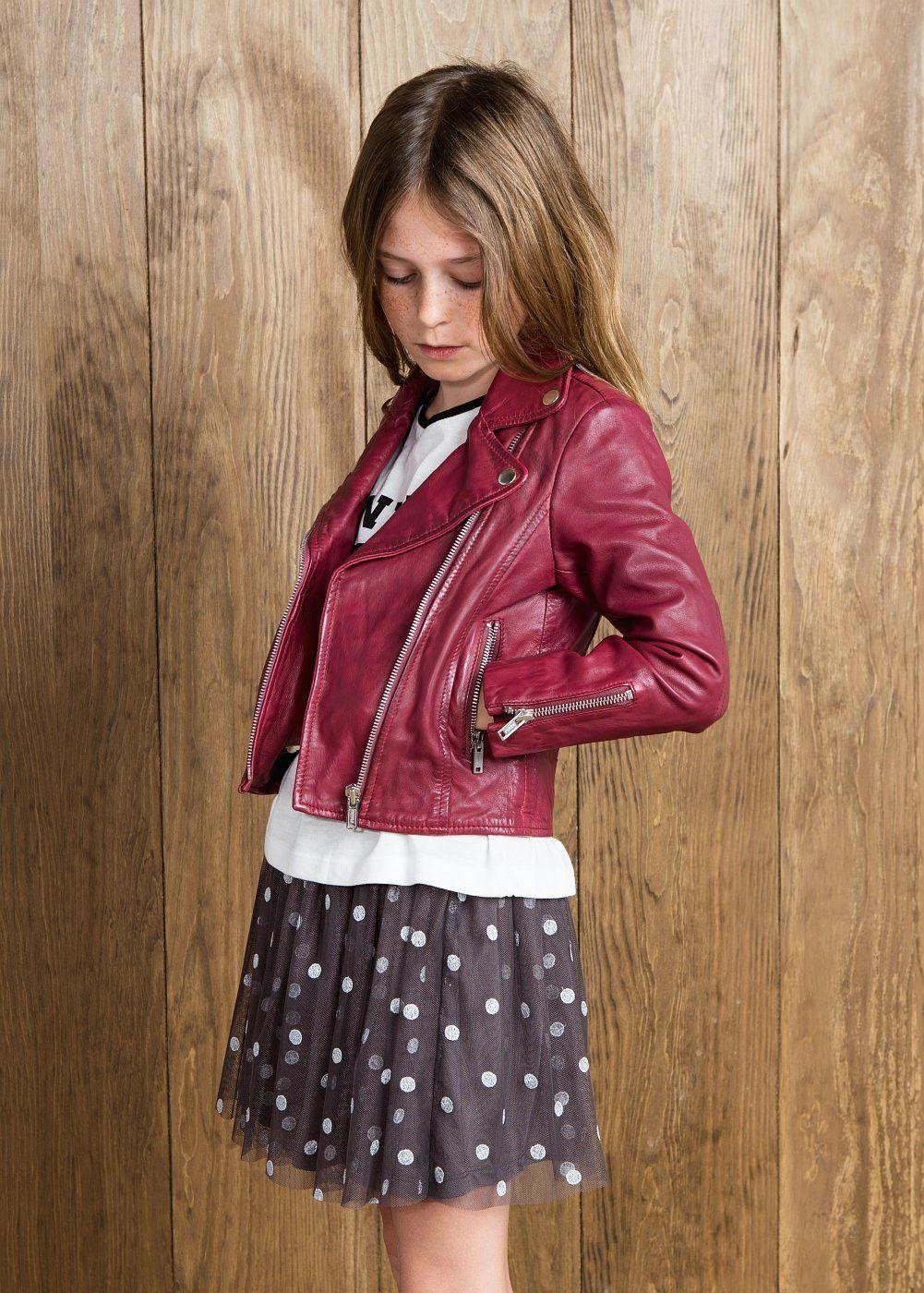 Leather biker jacket Girls Girls jacket, Kids jacket