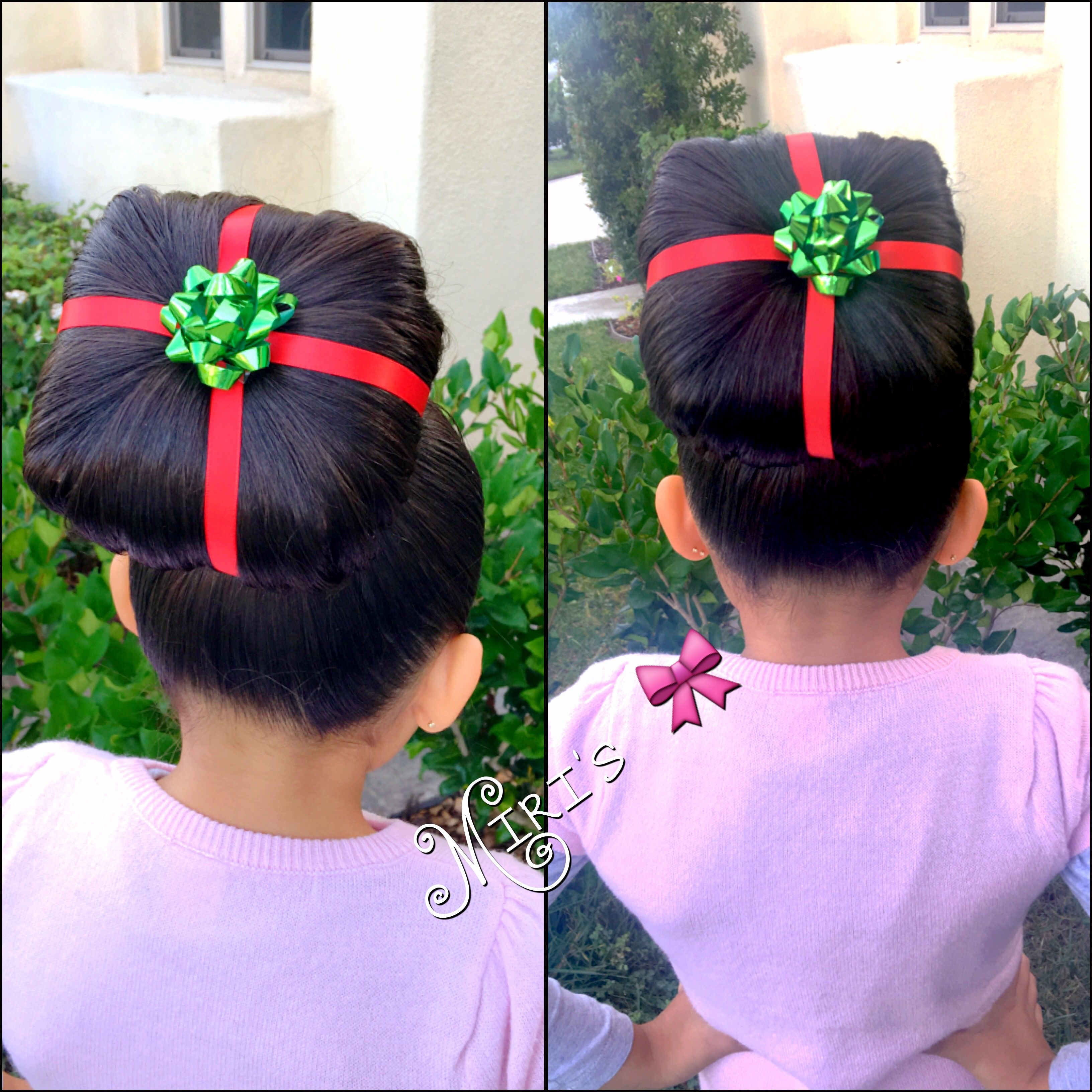 christmas present hair style for little girls | my creation