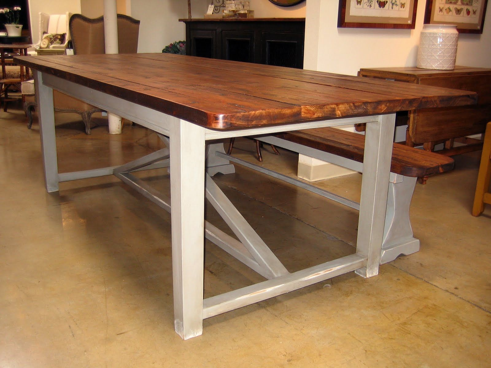 Wondrous Rectangle Dining Farm House Table With Benches Added White  Polished Legs In Opened Floors Interior Decors