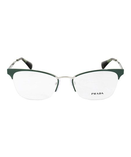 099941523f Prada Green   Silvertone Partial-Rim Cat-Eye Eyeglasses