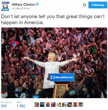 hillary clinton first woman in american history to be presidential nominee