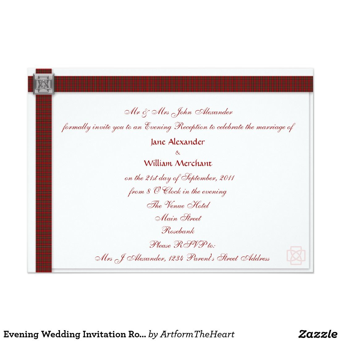 Evening Wedding Invitation Royal Stewart Tartan Tartan Wedding