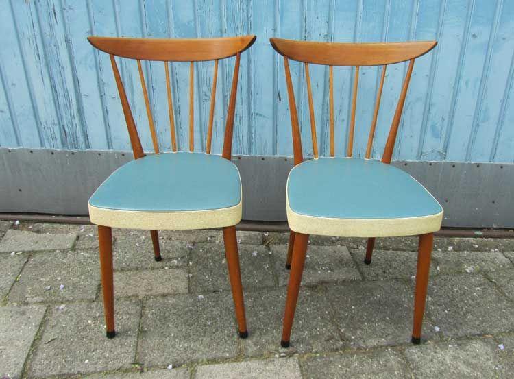 Jaren 50 Stoel : 2 unieke jaren 50 60 houten retro stoelen keukenstoelen met blauw