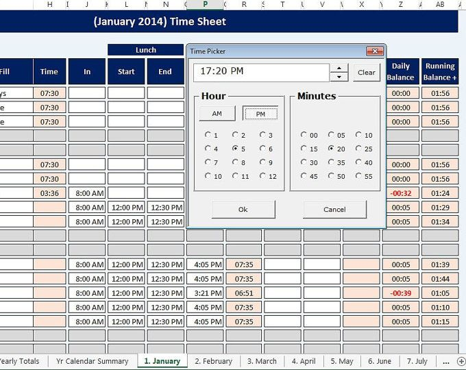 Employee, Staff Time Sheet and Calendar reusable, Microsoft Excel - sample spreadsheet