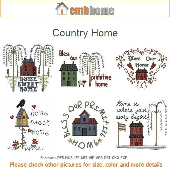 Country Home Primitive Machine Embroidery Designs Pack Instant Download 4x4 Hoop 10 Designs Ape2026