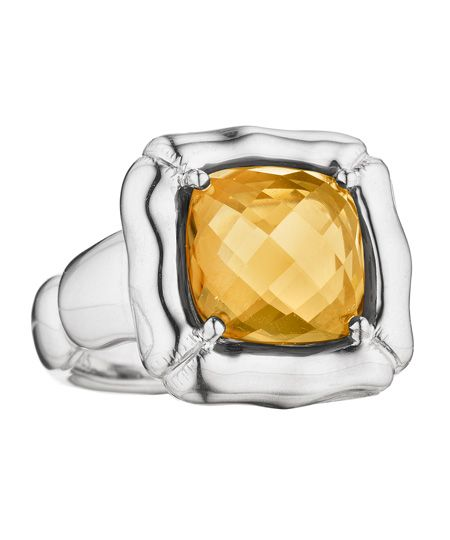 The Thistle & Bee bamboo and cushion-cut citrine ring pops with the bright color of the uniquely hued yellow citrine.The canary yellow stone glitters with faceted detailing and is perfectly showcased in a scalloped sterling-silver setting.