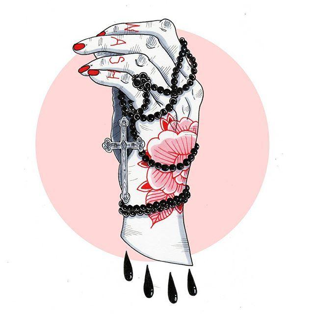 'Repentance is for the weak' #art #illustration #scoobtoobins #ink #inked #tattoos #wash #hand #pink