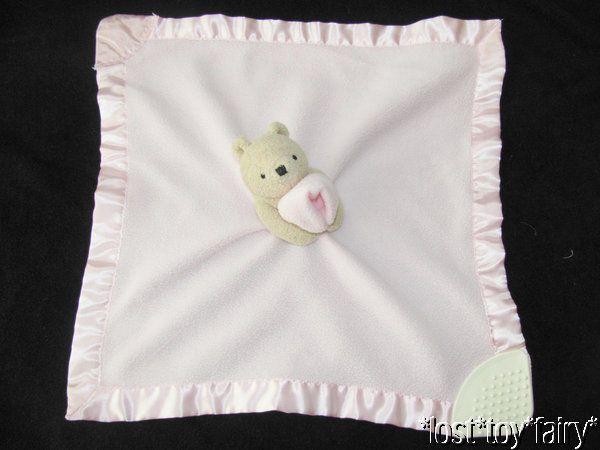 Classic Pooh Pink Fleece Teether Rattle Satin Trim Lovey Baby Security Blanket #Disney