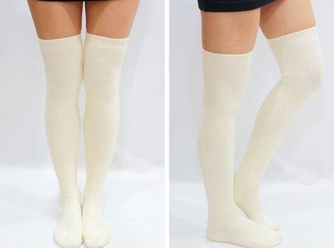 71cd95843e36e2 Comfy Knit Thigh High Knee High Socks /Tights Creamy White | socks ...