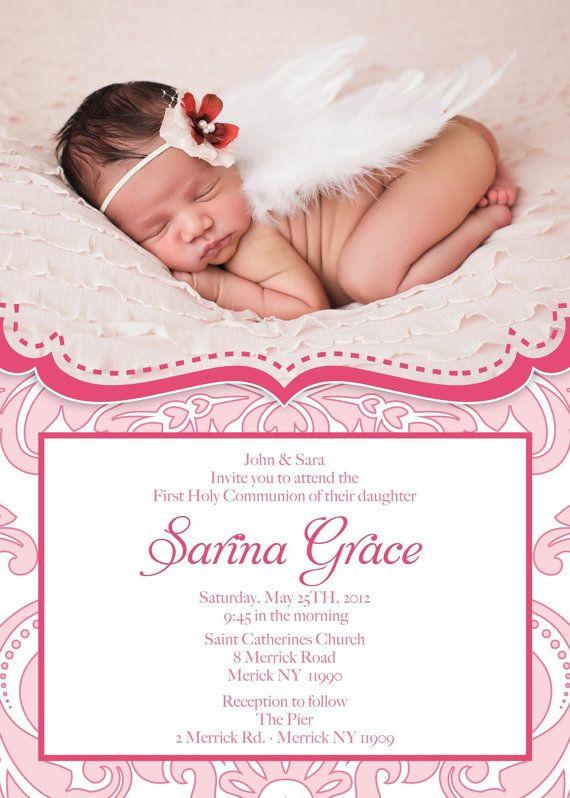 Baptism Christening Communion Dedication Invitation Baby Girl