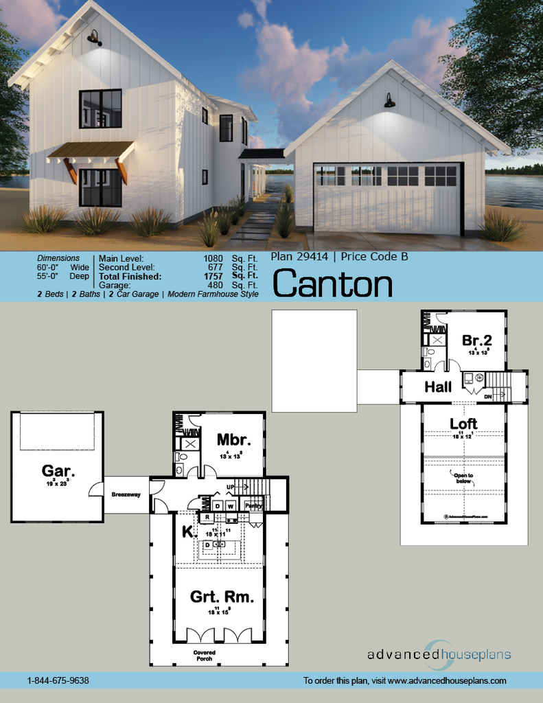 29414 Canton This 1 5 Story Modern Farmhouse Cabin Plan Is Highlighted By A Detached 2 Car Garage With House Plans Farmhouse Farmhouse Plans Farmhouse House