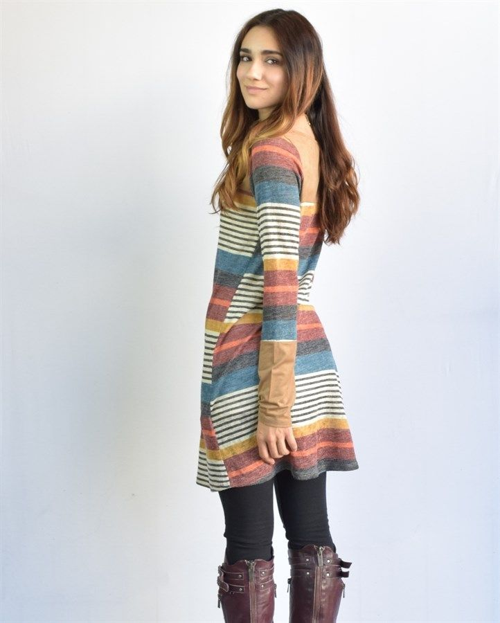 Multi Striped & Suede Combination Tunic | Jane