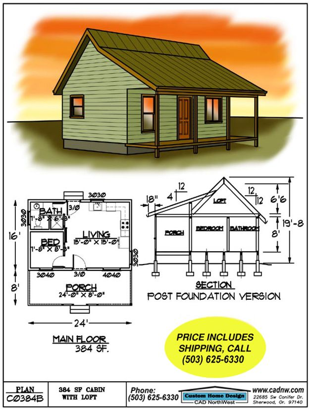 sales drawing C0384B in 2019 Cabin plans Small cabin