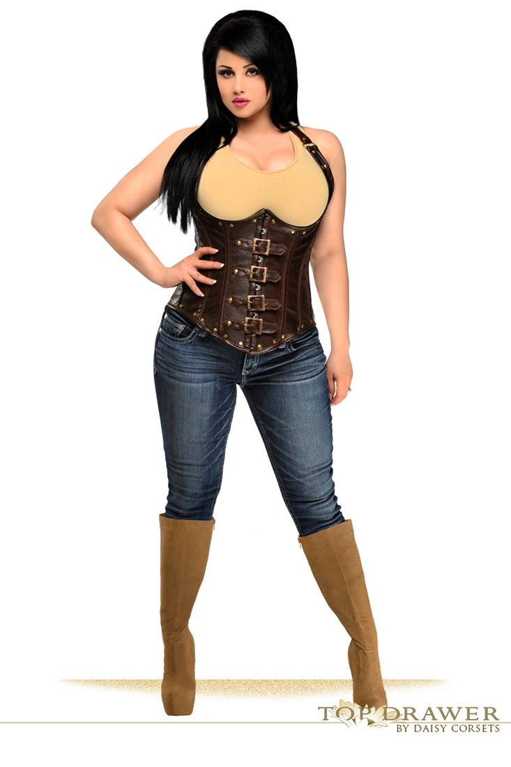8047d91bd4a Underbust corset made of high quality brown distressed faux leather