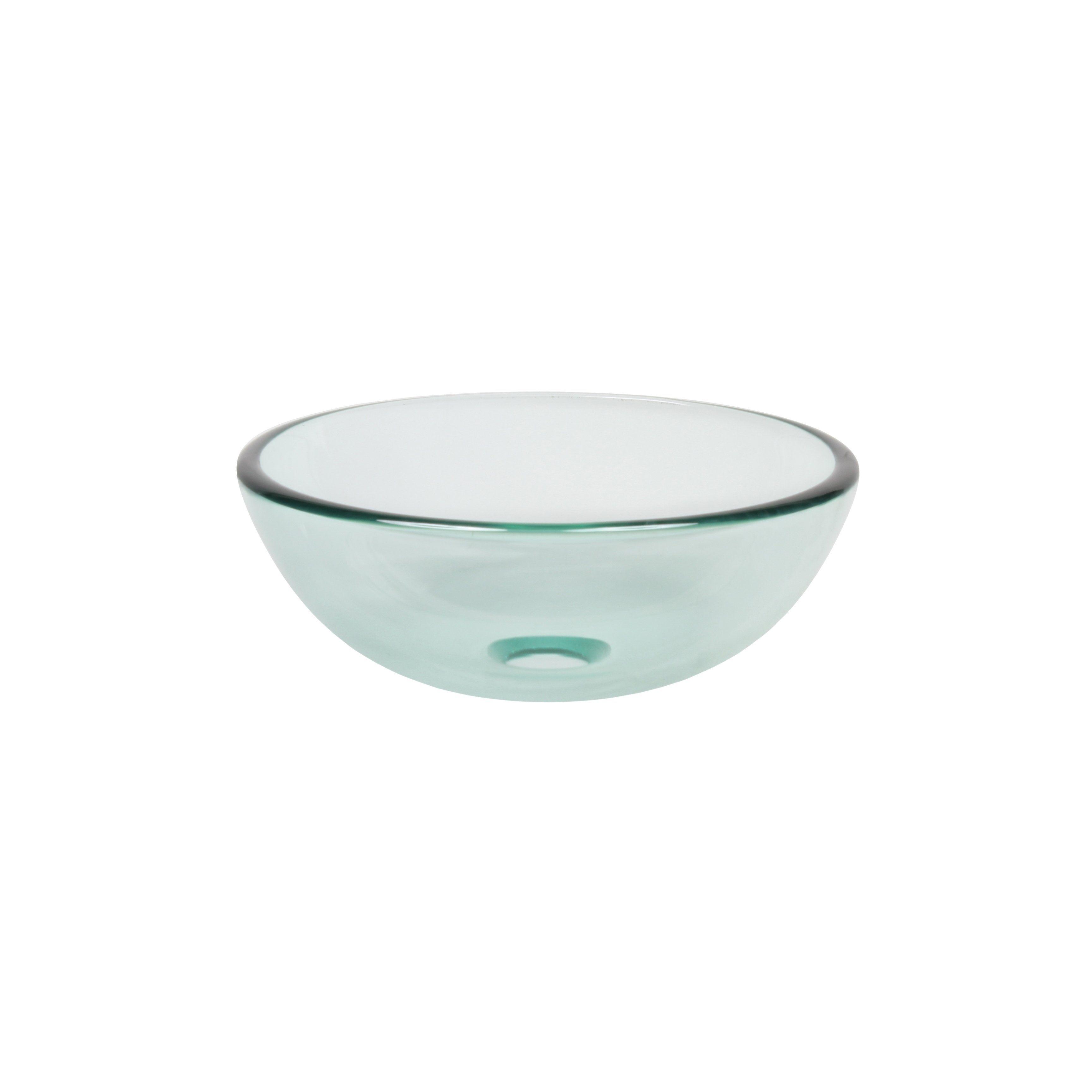 Novatto Clear Mini 12 Inch Glass Vessel Bathroom Sink Bronze Glass Sink Glass Vessel Sinks Wall Mounted Bathroom Sinks