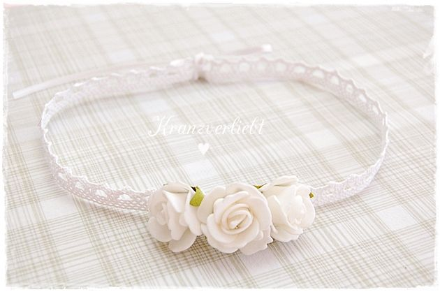Baby Mädchen Kopfschmuck Haarband Haarreifen Stirnband Taufe Hochzeit weiß rosa