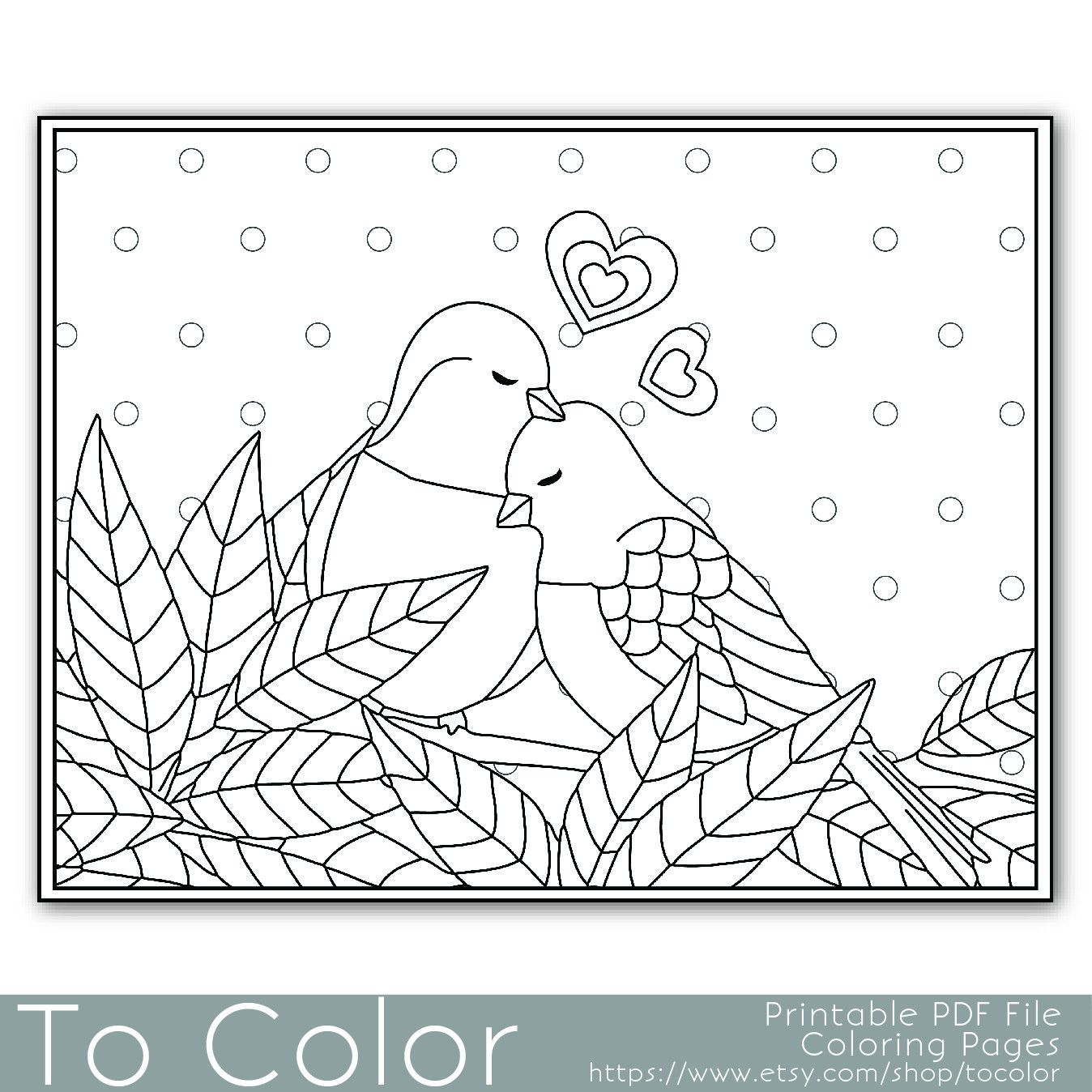 Lovebirds Coloring Page For Grown Ups