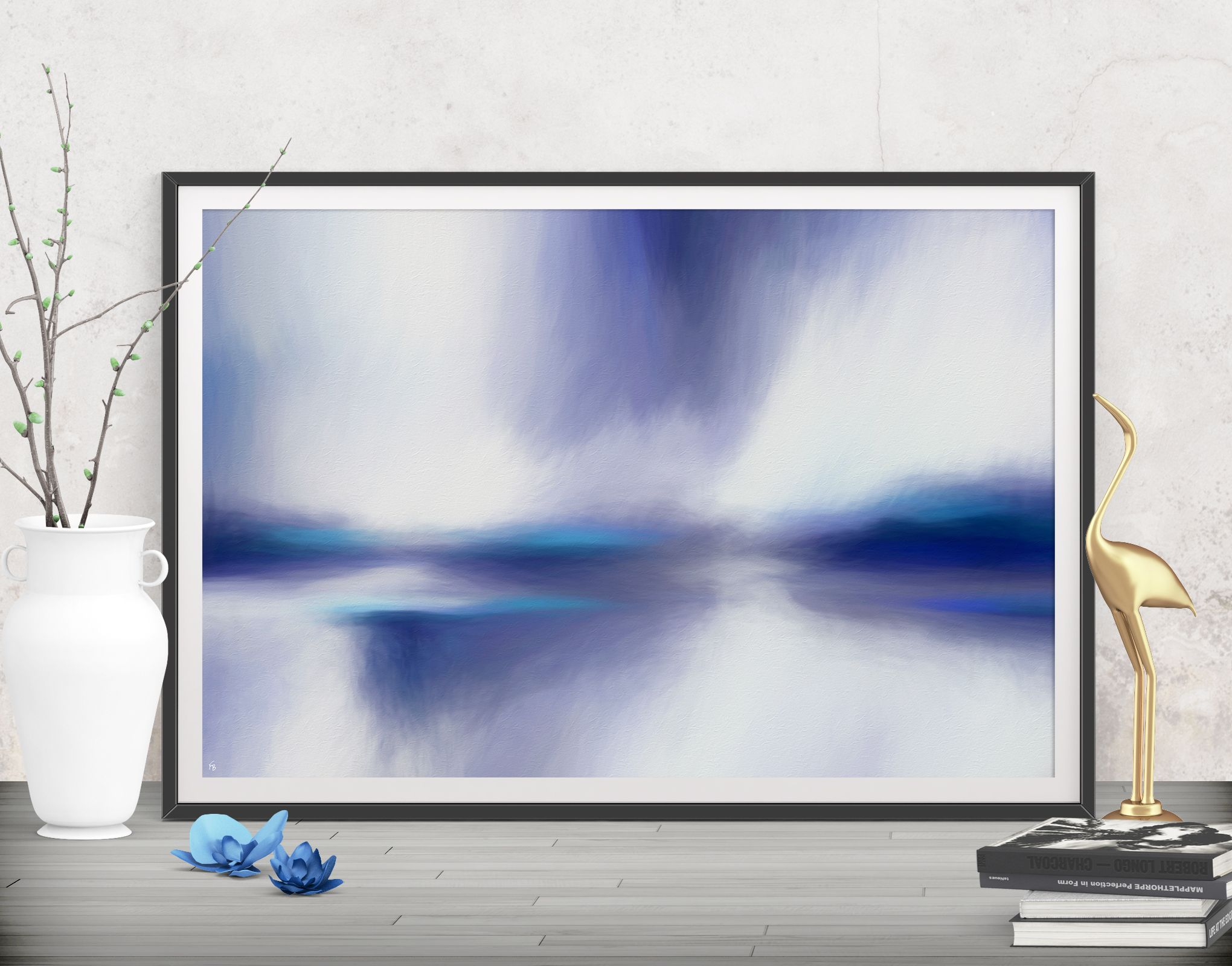 Casual soft mood with this fresh blue printable large decor poster