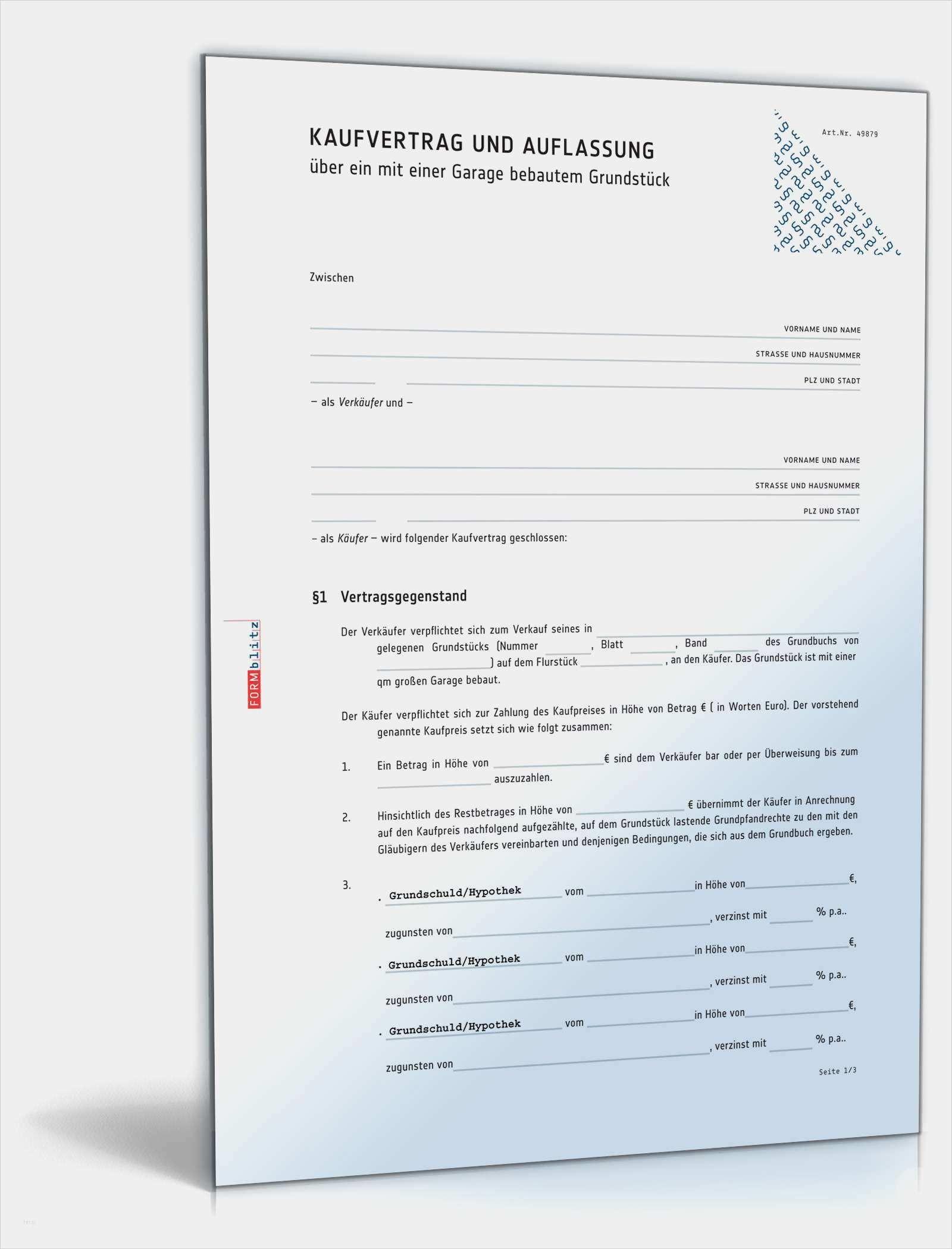 Vertrag Hauskauf Mit Grundstuck Muster Vorlage