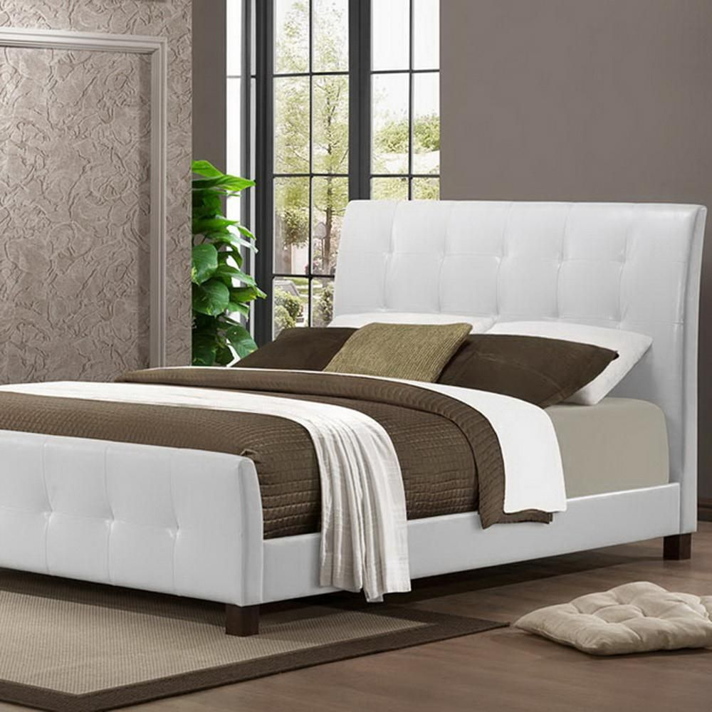 Amara Transitional White Faux Leather Upholstered Queen Size Bed ...