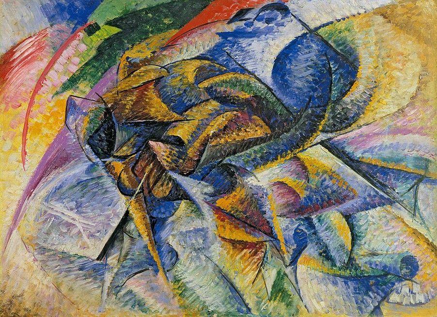 """""""Dynamism of a Cyclist"""".  (1913). (by Umberto Boccioni)."""