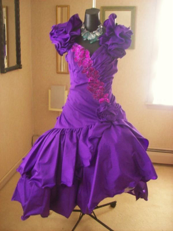441611978d VINTAGE 80s PURPLE PROM PARTY DRESS WILD CHILD BEST IN SHOW XL XXL ...