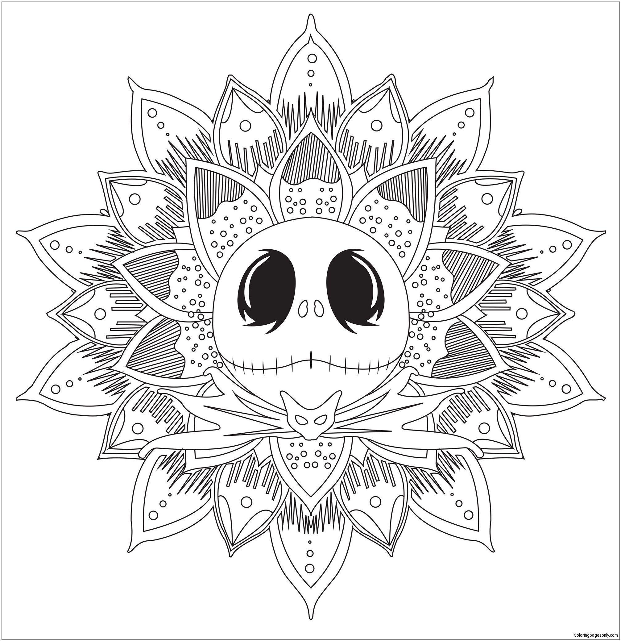 Jack Skellington Mandala Coloring Page Jack Skellington Mandala Coloring Page Free Coloring Pages Onl Weihnachtsmalvorlagen Malvorlagen Weihnachten Tattoo