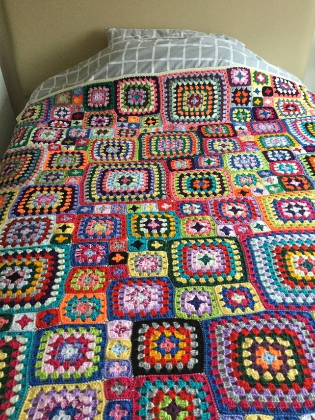Crochet extra large bright coloured granny square bed or sofa throw ...