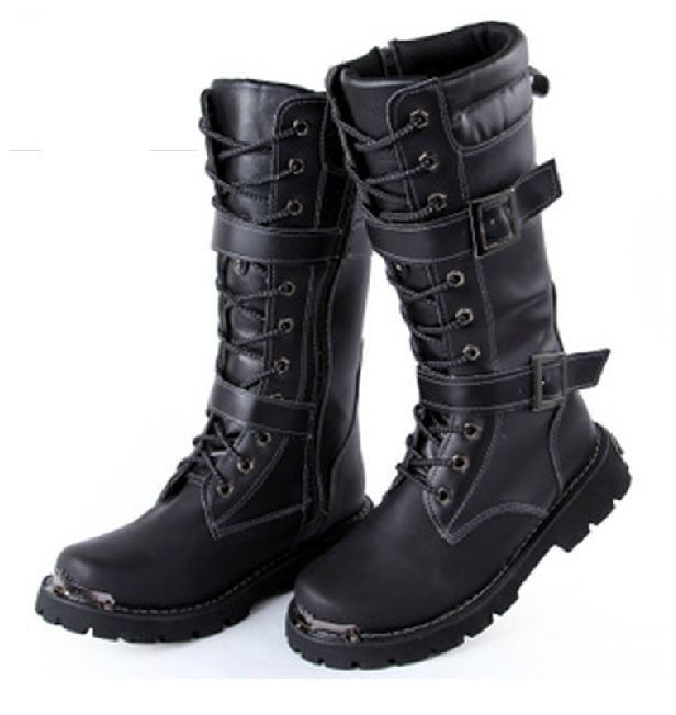 Mens Mid calf Boots Winter Jungle Type Black Tactical Combat
