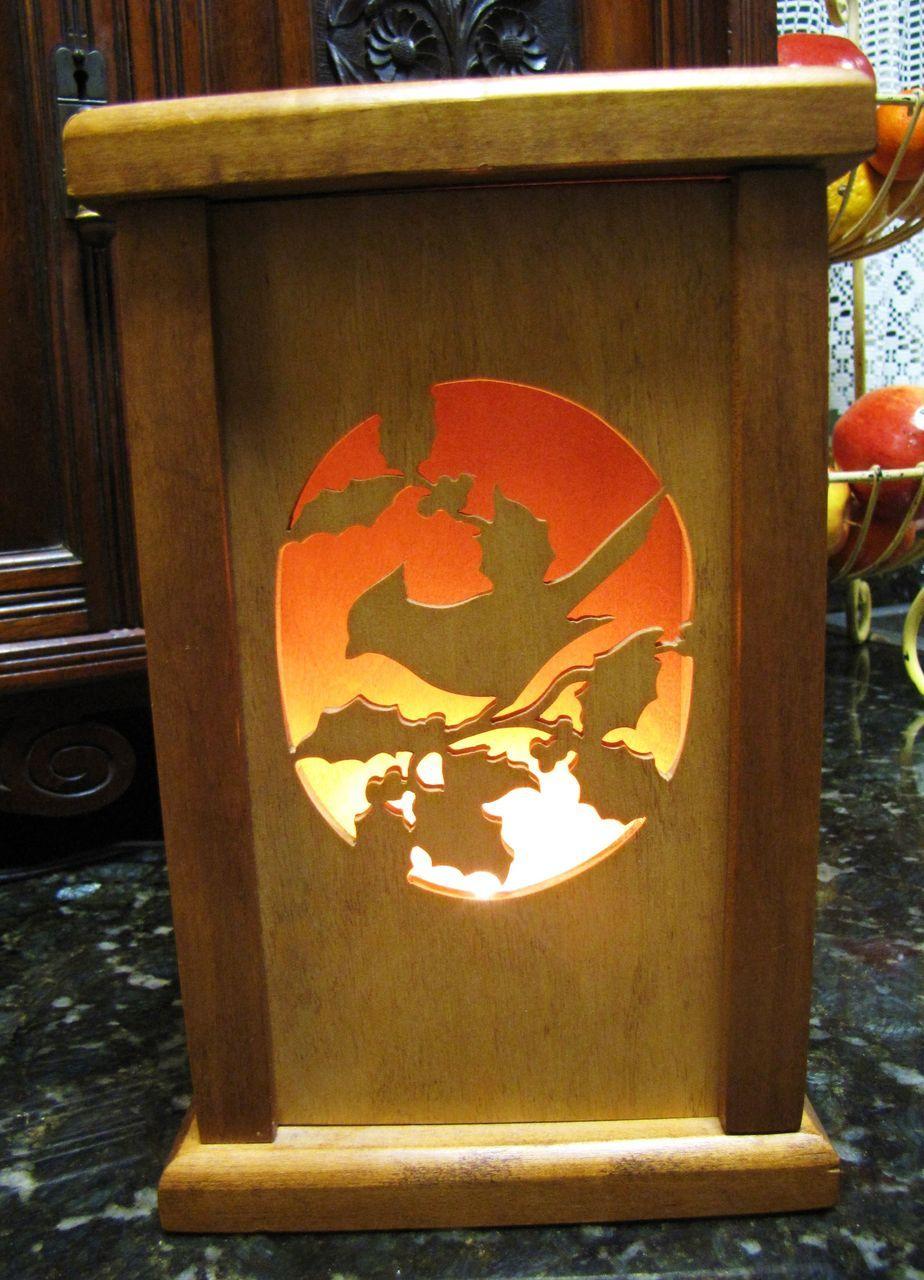 Handmade vintage wooden multiscene shadow box nightlight