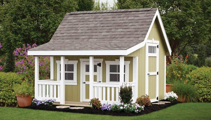Storage shed with play loft deluxe 8 x 10 with porch for Shed with porch and loft