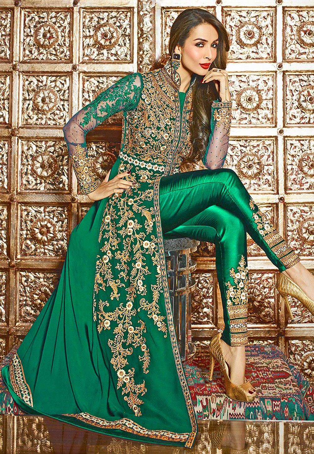 1fc75da60239 UTSAV Embroidered Georgette Jacket Style Abaya Suit in Teal Green ...