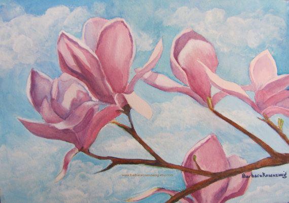 Pink Magnolia Flower Art Print Flower Painting Watercolor Etsy Flower Painting Flower Prints Art Flower Art