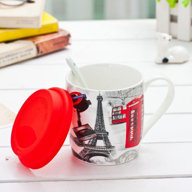 Click To Buy 350ml Christmas Gift Mugs English Style Mug Mickey Flag Creative Coffee Mug With Spoon Silicone Cover Dr Creative Coffee Gifts In A Mug Mugs