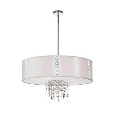 Dainolite Lighting RTA-29-PC-8 Rita Crystal Jeweled Drum Shade 4 Light Large Pendant