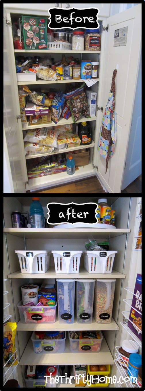 *The Thrifty Home: Simple Solutions To Organize A Deep Pantry. Tall, Slim  Containers With Handles Seem To Be The Thing To Do Here.