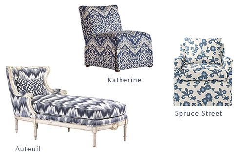 Blue And White Upholstered Chairs Yoga Chair Exercises Three Patterned That All Work Together