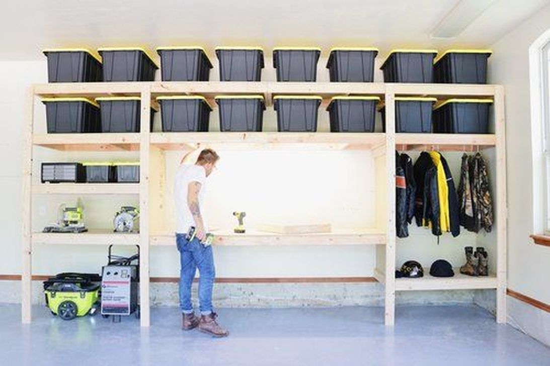 Nice 36 Inspiring Garage Organization Hacks Ideas Garage Wall Storage Garage Storage Shelves Garage Organization Diy