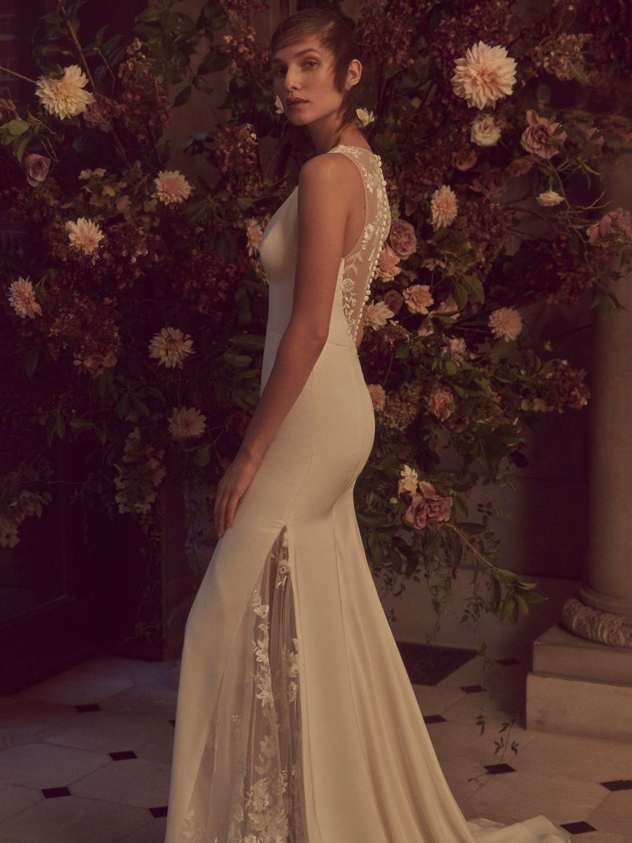 48e3ffa2a869 Bliss by Monique Lhuillier Fall 2019 Bridal Collection: Fit and Flare Wedding  Dress with Lace Panel