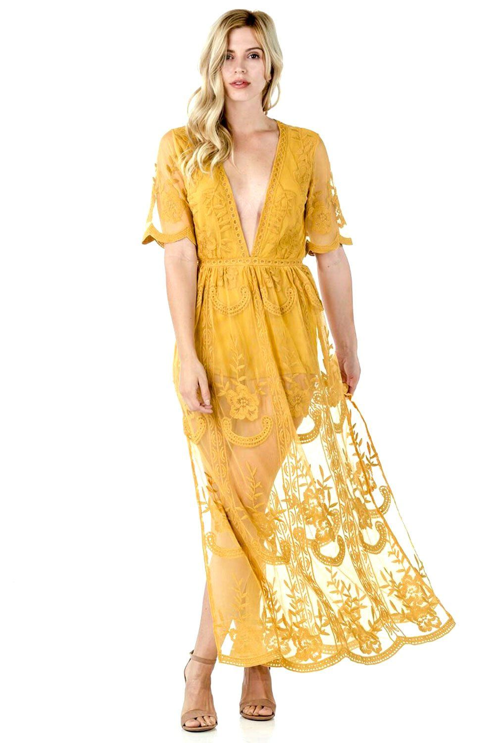 ae72090c525 Long yellow lace embroidered boho maxi dress in 2019