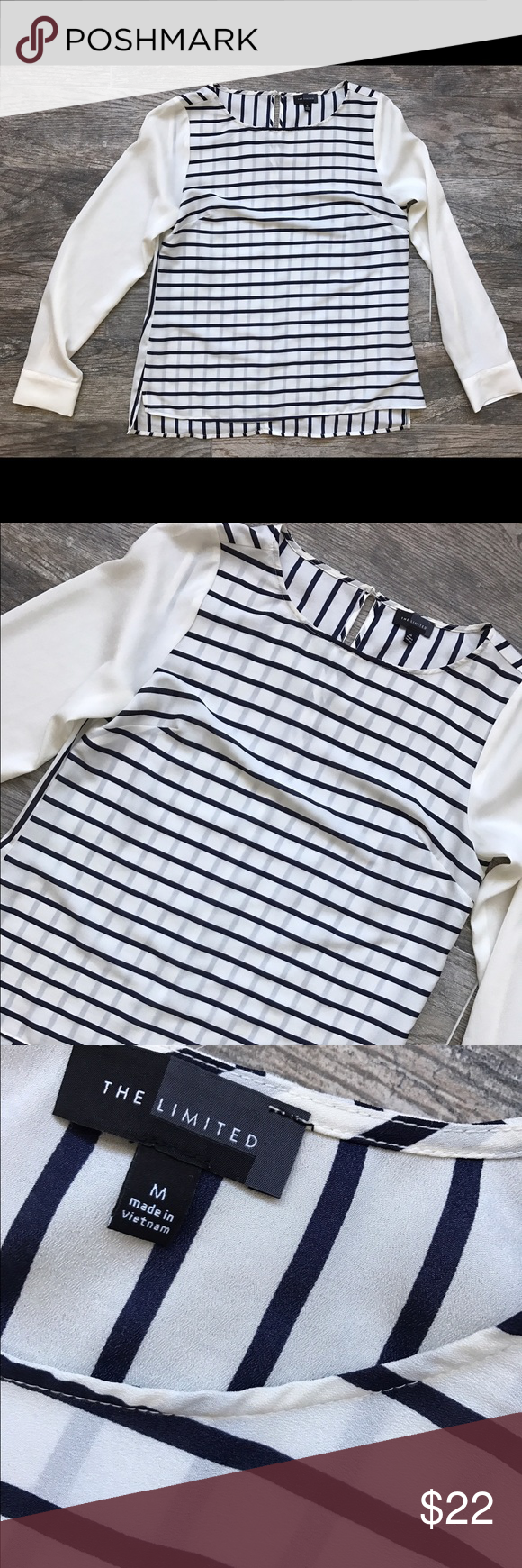 The Limited Striped Sheer Blouse 'The Limited' Striped Sheer Blouse - size Medium. Stripes are navy blue. All REASONABLE offers will be accepted on anything in my closet. The Limited Tops Blouses